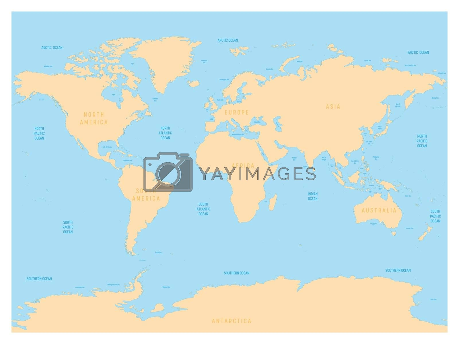 Hydrological Map Of World With Labels Of Oceans Seas Gulfs Bays And Straits Vector Map With Yellow Lands And Blue Water Royalty Free Stock Image Stock Photos Royalty Free Images Vectors