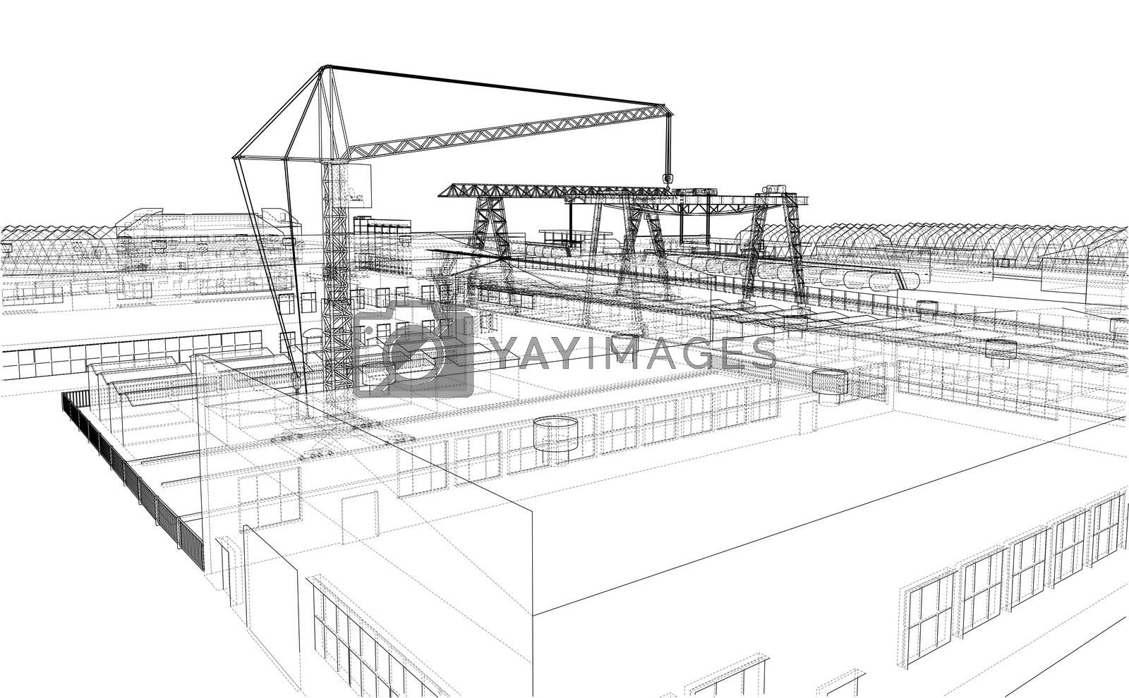 Industrial zone with buildings and cranes. 3d illustration