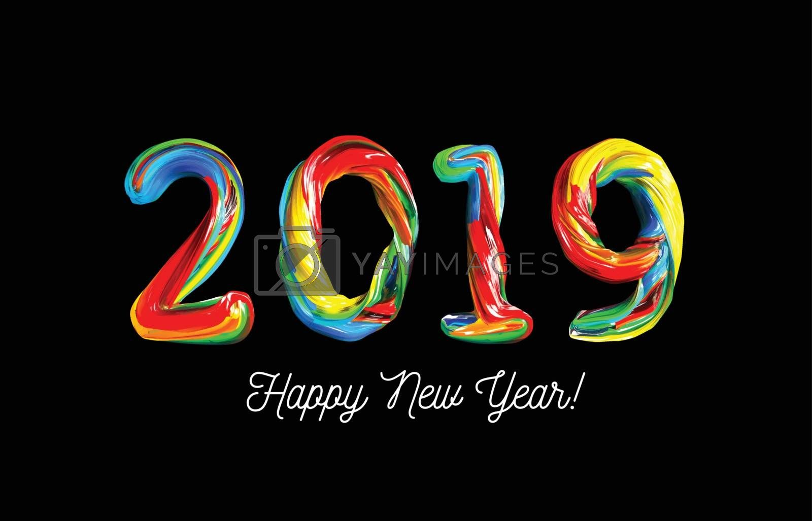 Colorful 3d text 2019. Congratulations on the new year 2019. Vector illustration on black background