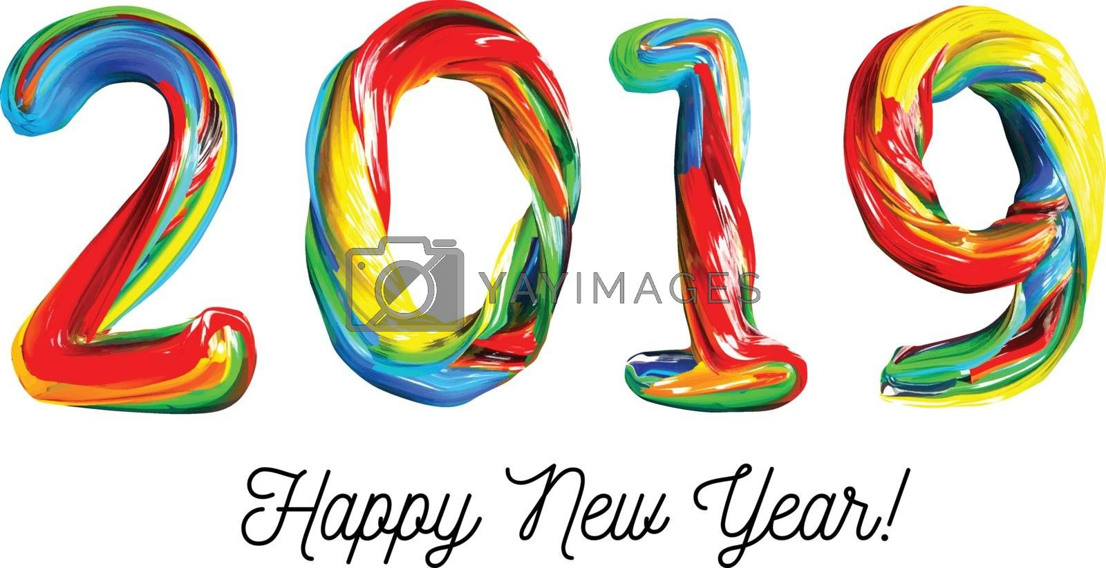 Colorful 3d text 2019. Congratulations on the new year 2019. Vector illustration on white background