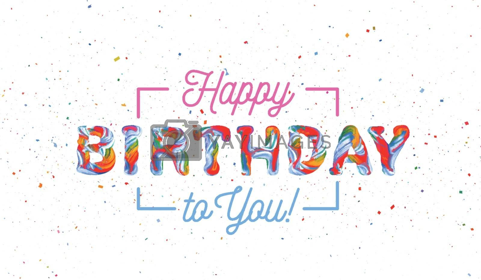 Colorful 3d text birthday. Vector illustration on white background