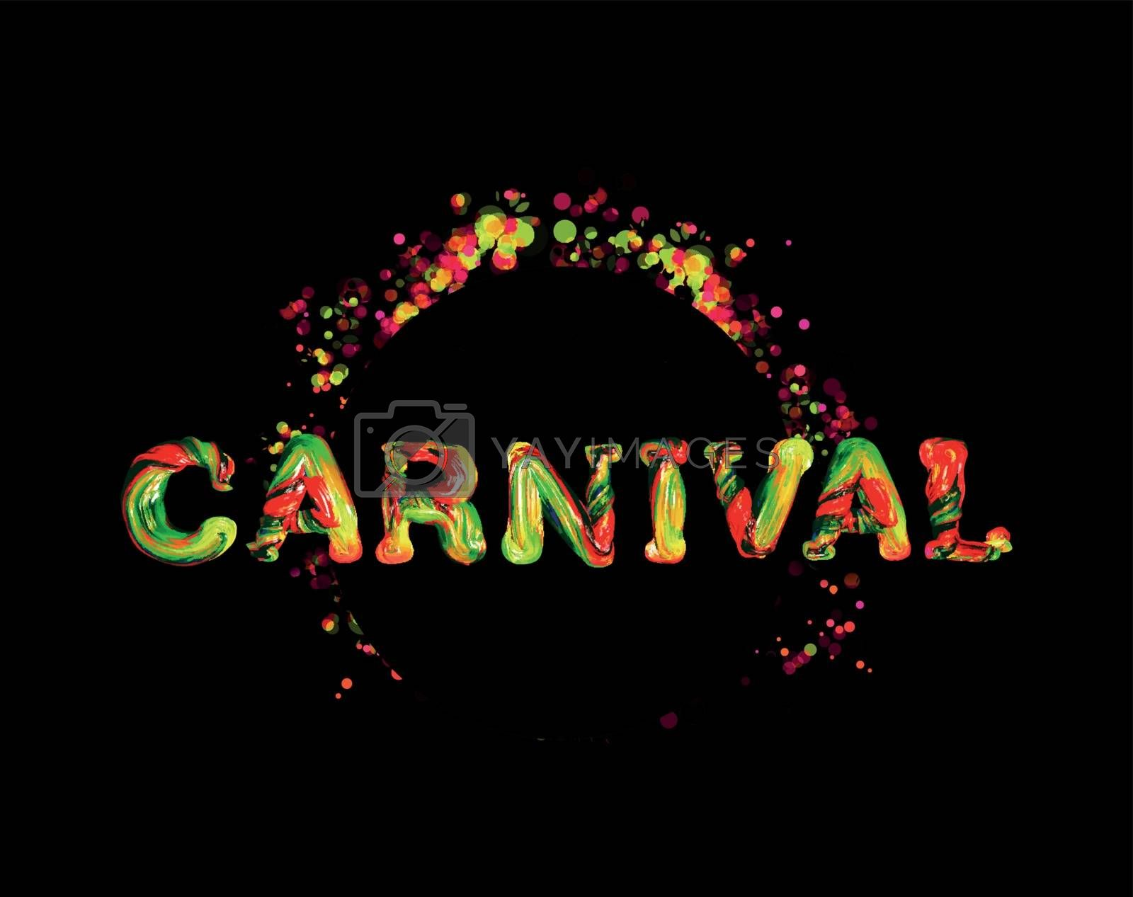 Colorful 3d text carnival. Vector illustration on black background