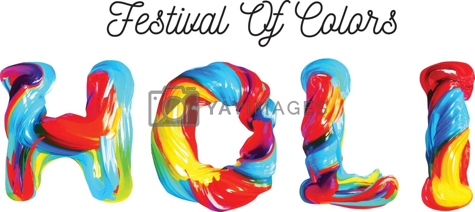 Colorful 3d text holi. Holiday of colors in India. Vector illustration on white background