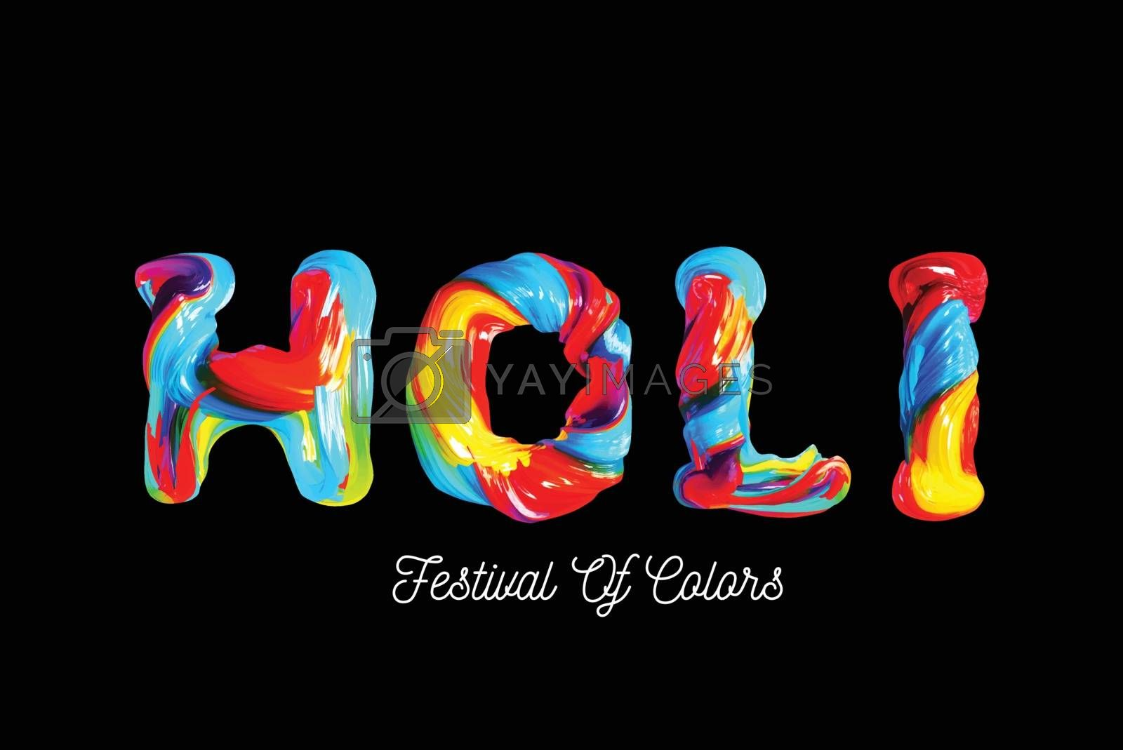 Colorful 3d text holi. Holiday of colors in India. Vector illustration on black background