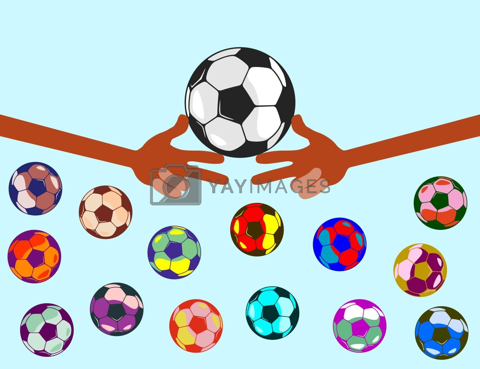 hands of bright color. The fingers show the figures. next to fly colored balls. isolate in one color.
