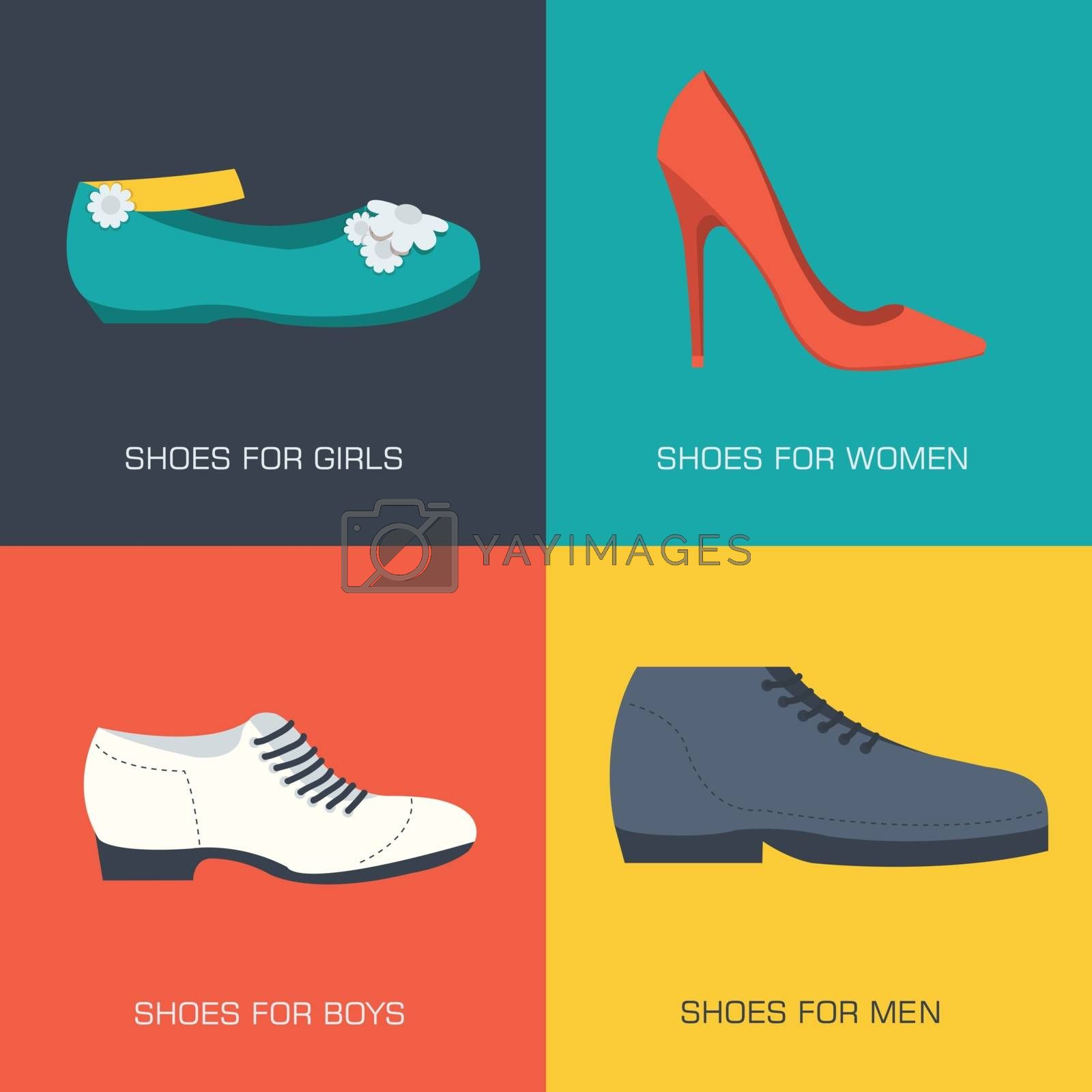 fashion shoes for family on flat style. Vector illustration concept banners