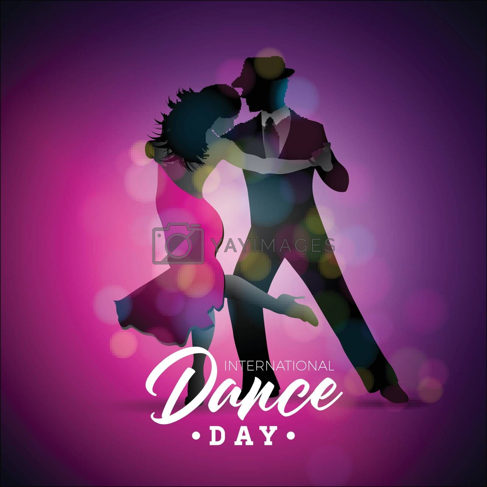 International Dance Day Vector Illustration With Tango Dancing Couple On Purple Background Design Template For Banner Flyer Invitation Brochure Poster Or Greeting Card Royalty Free Stock Image Yayimages Royalty Free