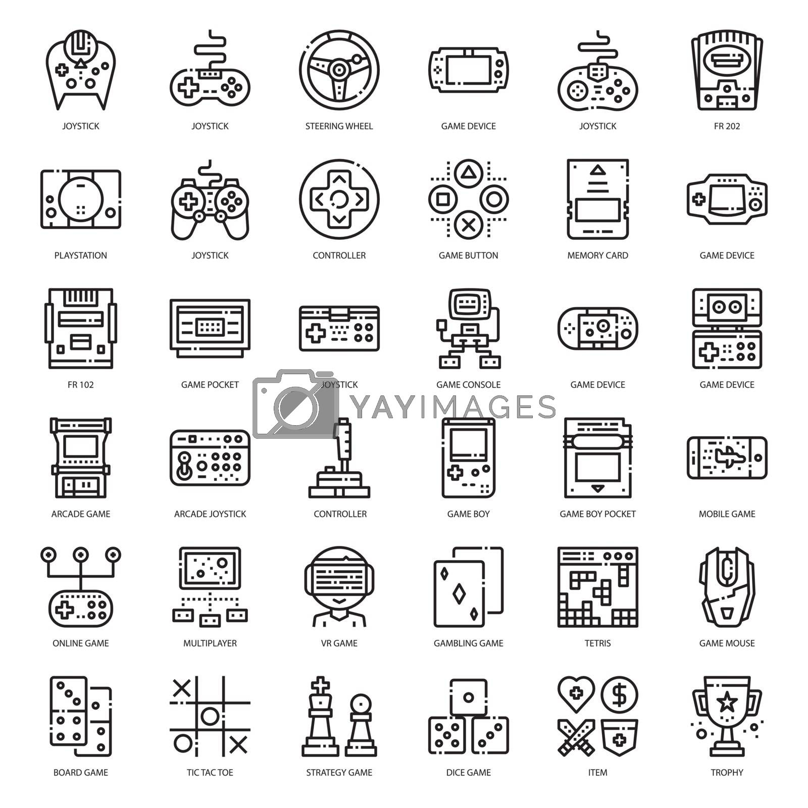 set of game technology outline icon, isolated on white background