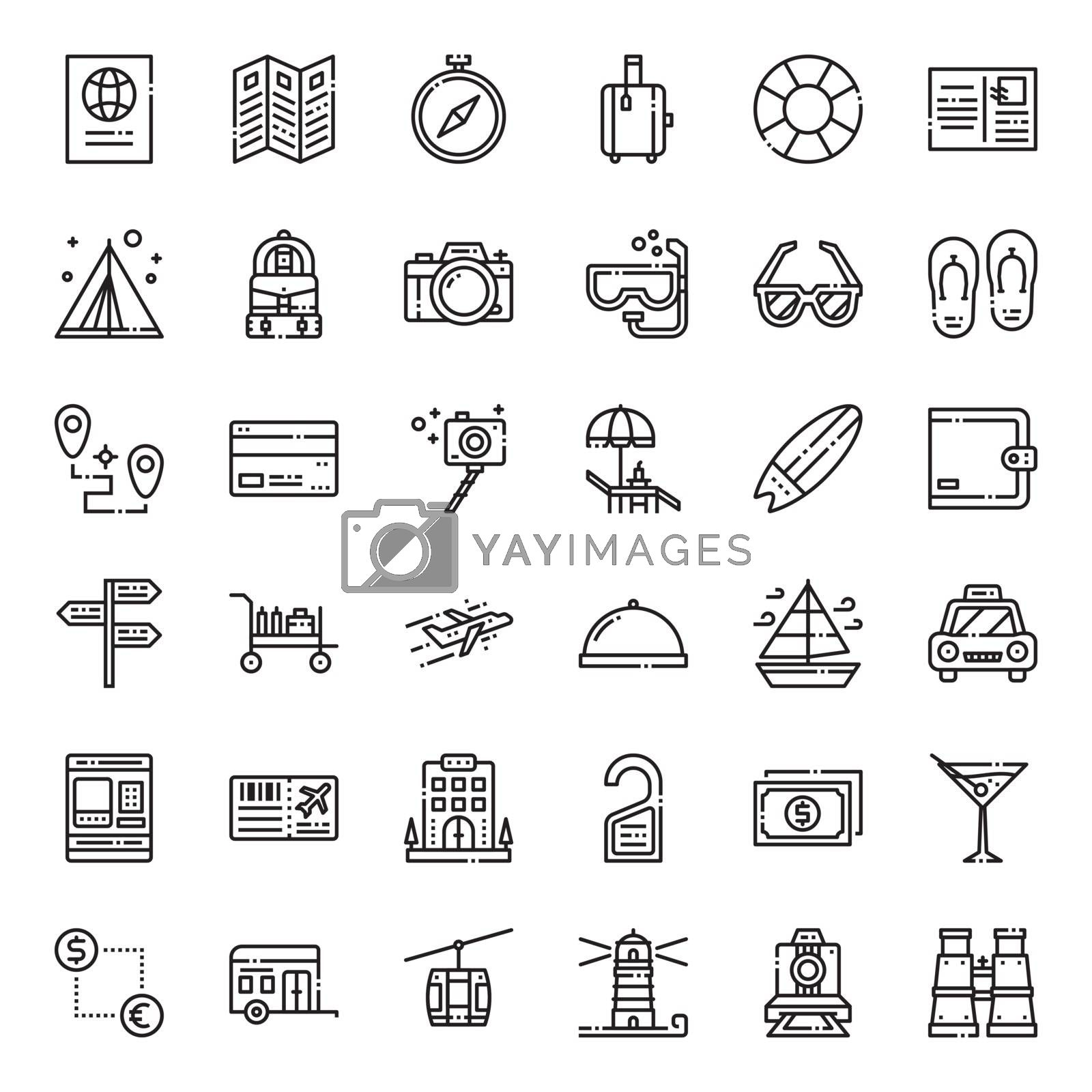travel , pixel perfect outline icon, isolated on white background