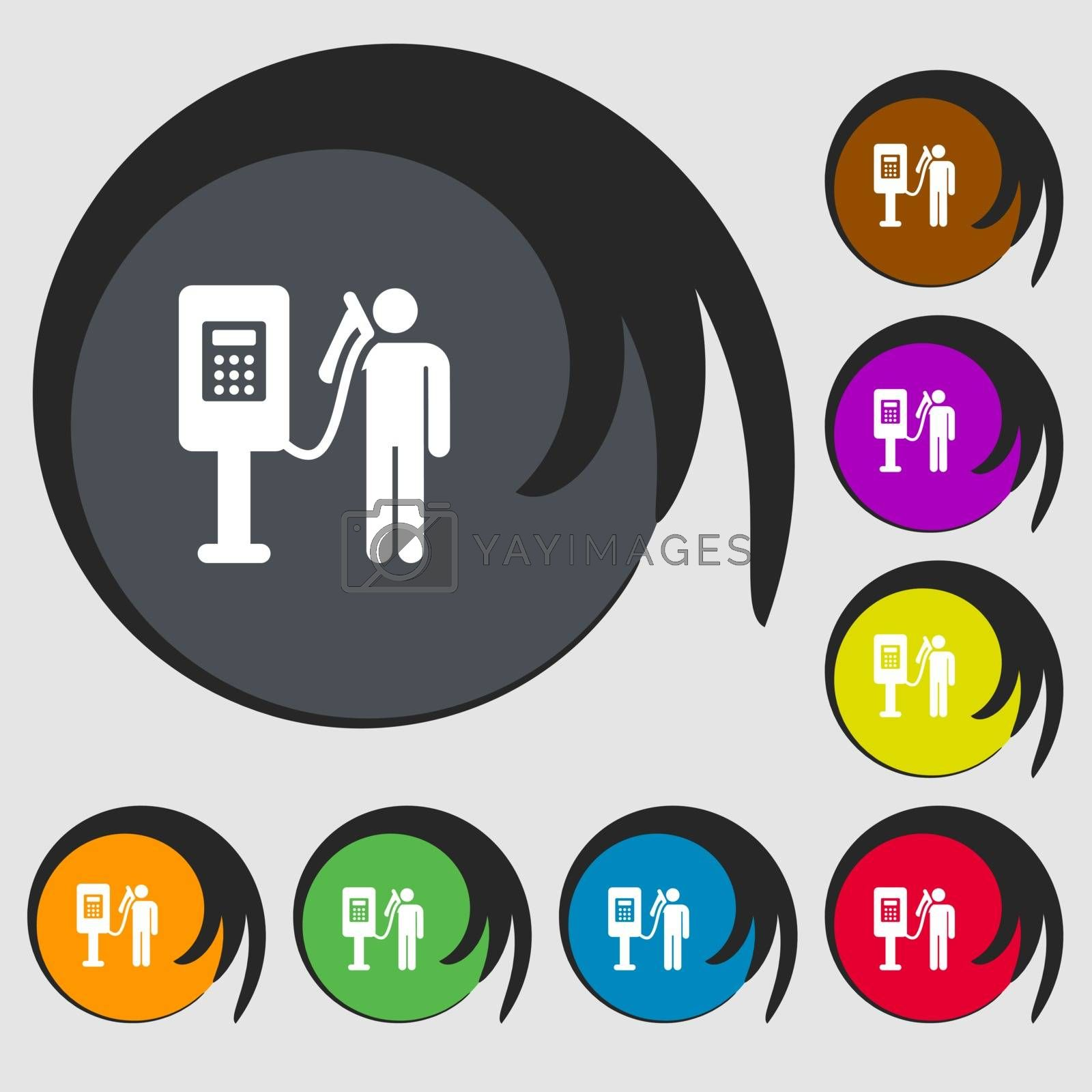 Colorful Icons and signs in the form of a button or symbol for your design. Vector illustration