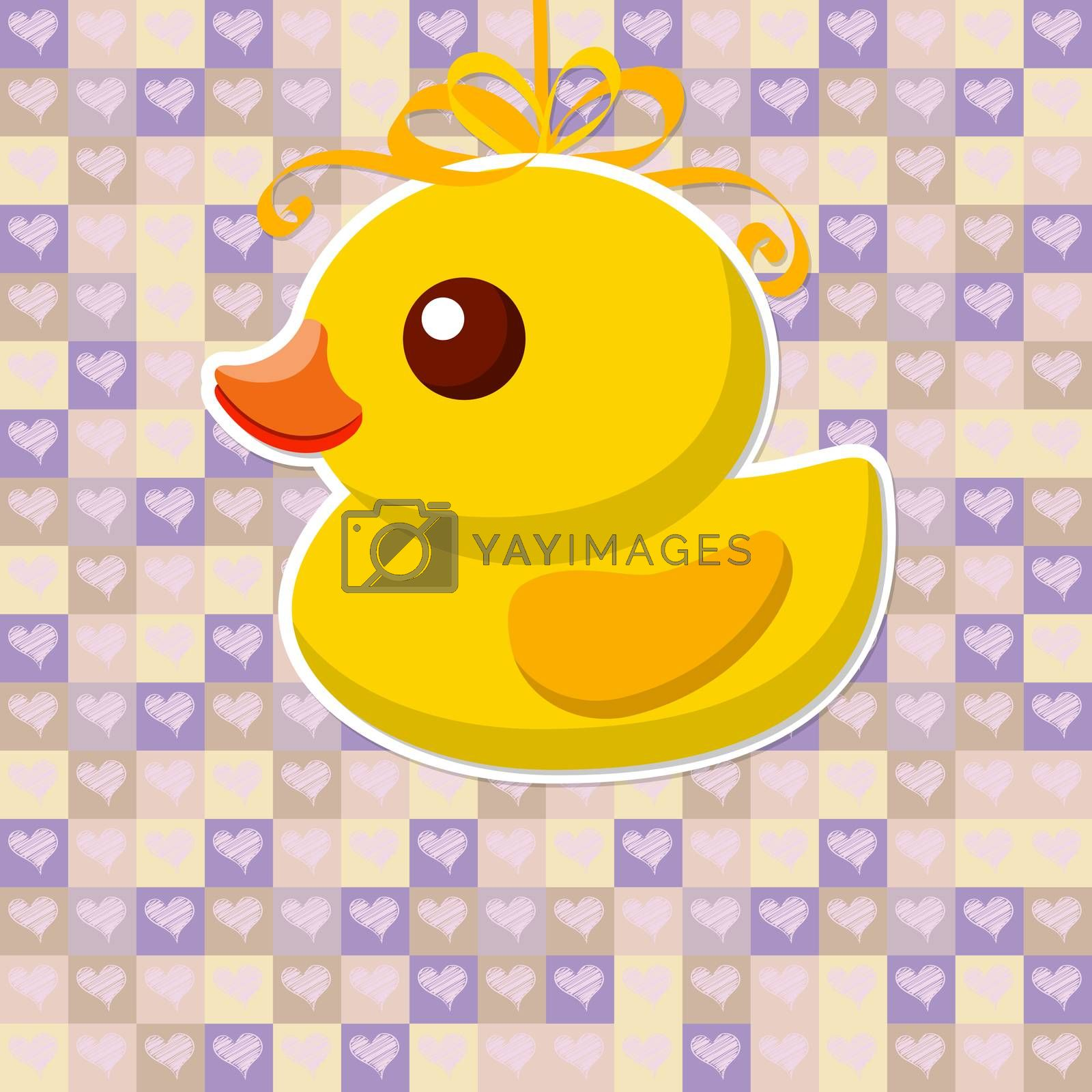 yellow Toy duck for a bath on a pretty background with hearts. illustration