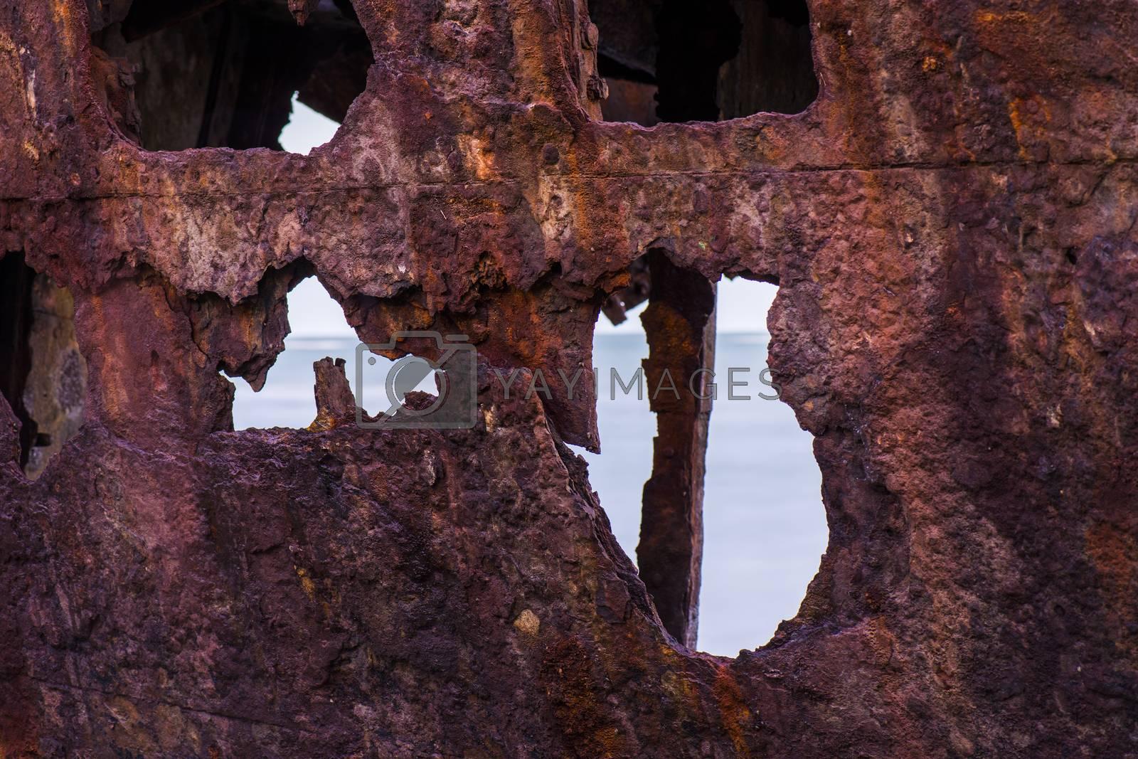Shipwreck of HMQS Gayundah at Woody Point, Queensland, Australia.
