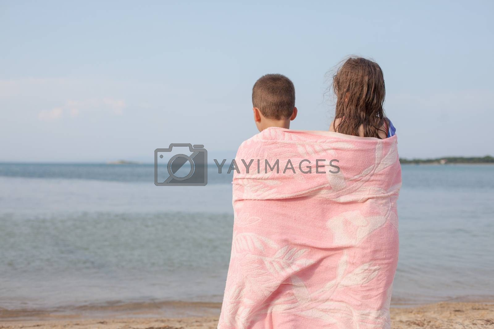 Two kids around six, back to the camera are gazing at sea, ocean or lake.