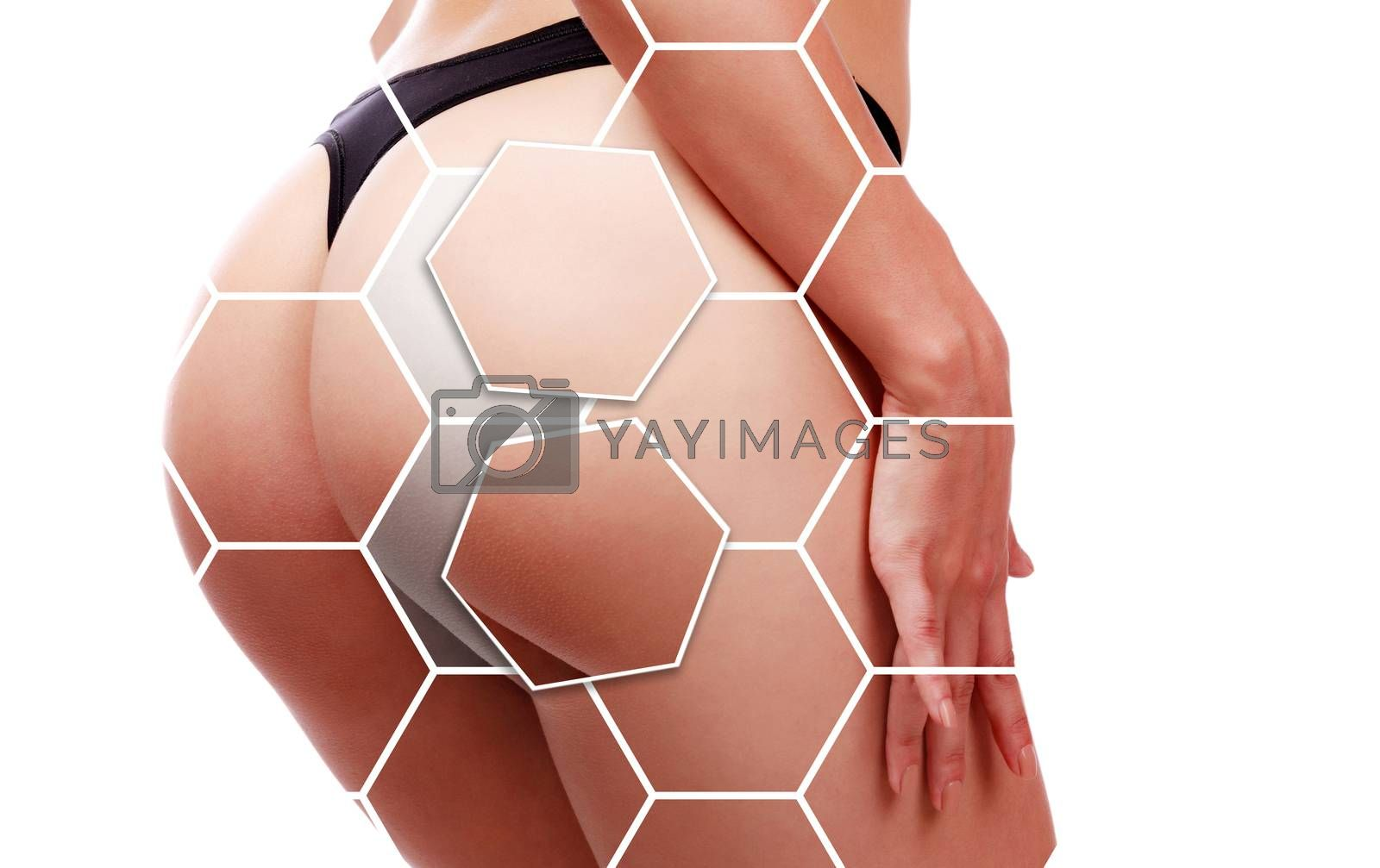 Closeup of beautiful woman buttocks in lingerie. Female ass in black panties. Isolated on white background. Skincare concept