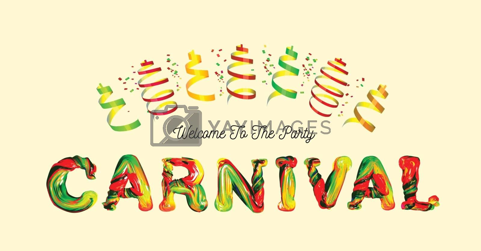 Colorful 3d text carnival. Vector illustration on yellowbackground