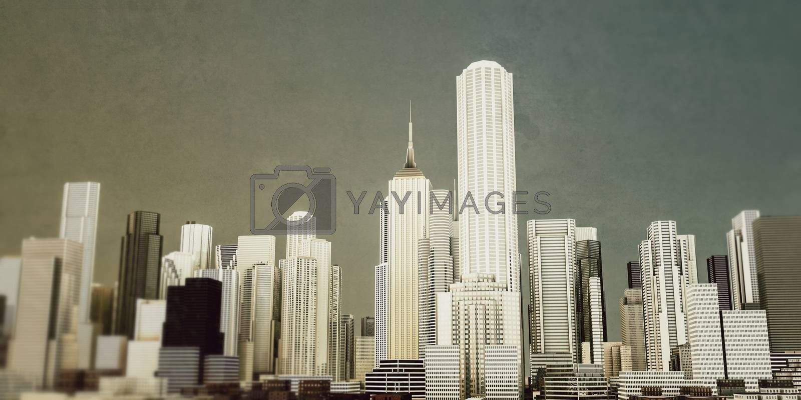 3d illustration of the downtown district with high skyscrapers