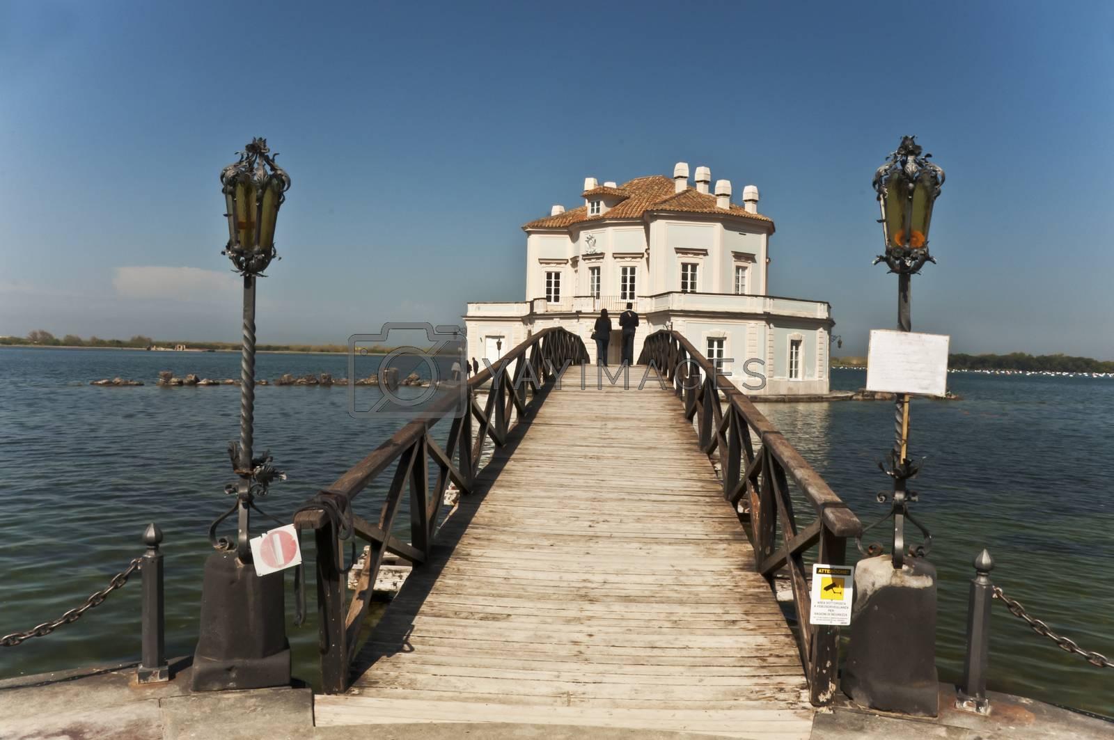 royal hunting house on the Fusaro Lake, Naples, Italy