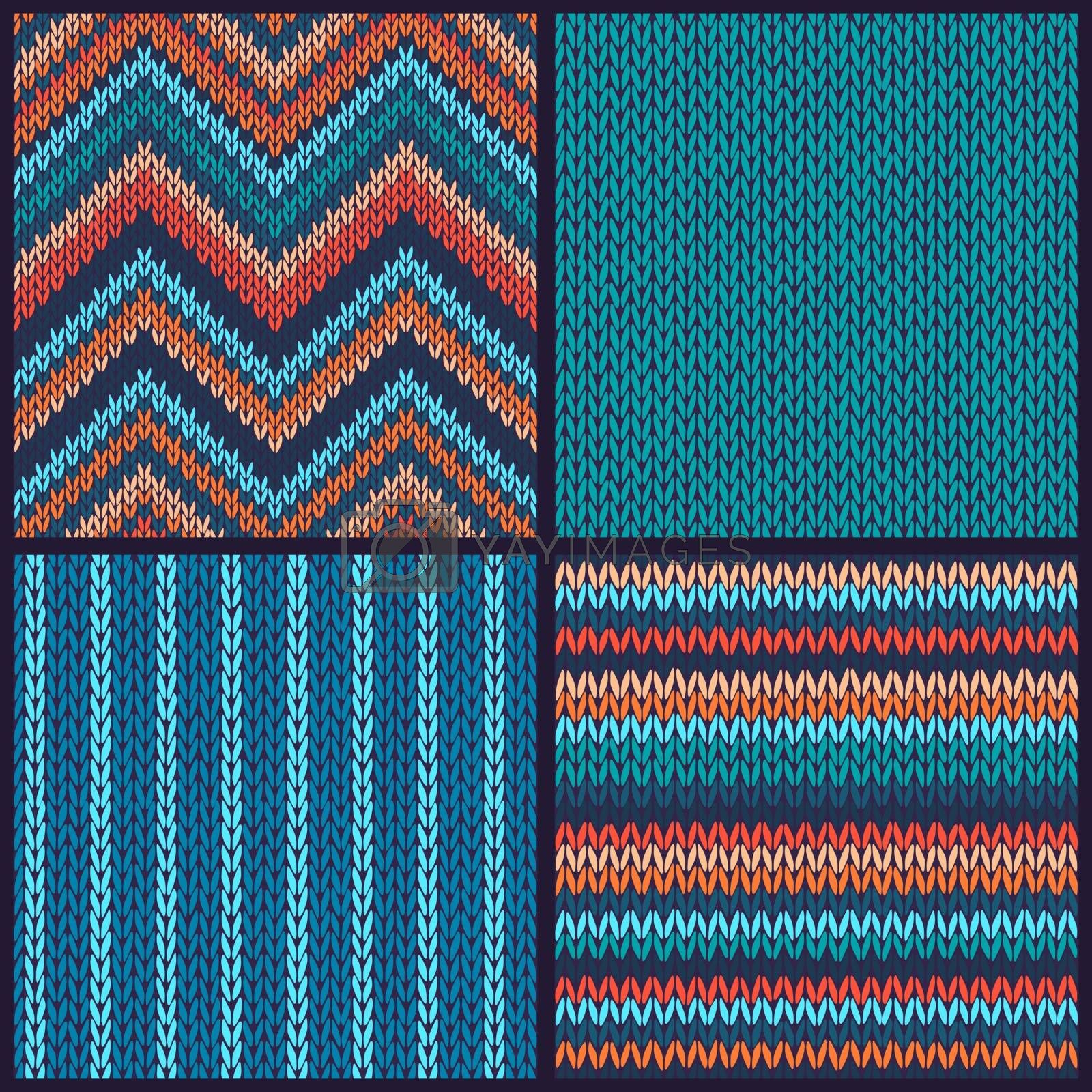 Seamless knitted pattern. Set of blue red orange white color backgrounds.