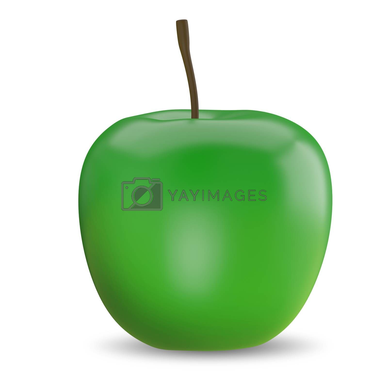 3D Illustration of a Green Apple on a White Background