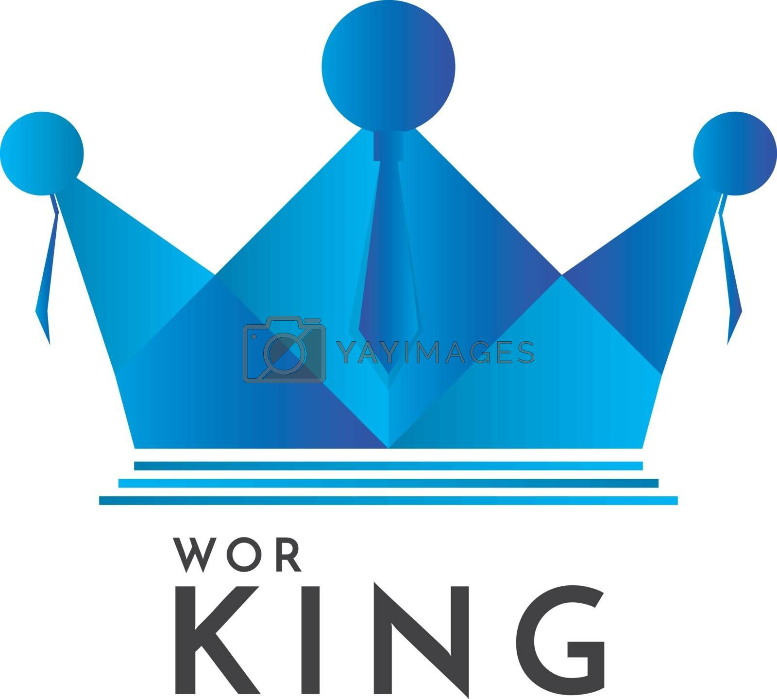 Crown and people logo concept. business team work logo template. vector illustration.