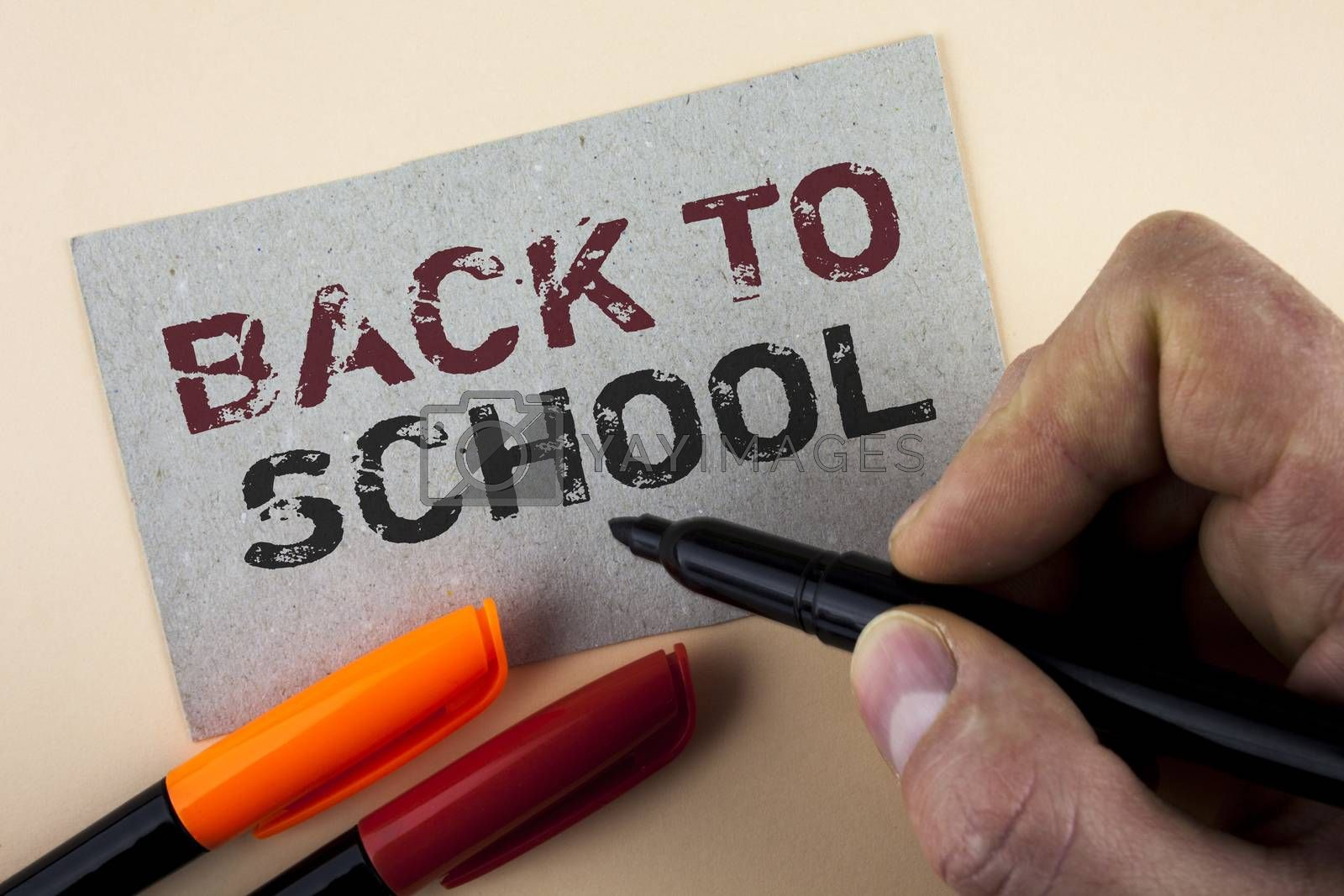 Conceptual hand writing showing Back To School. Business photo text Right time to purchase schoolbag, pen, book, stationary written by Man with Marker Cardboard Piece plain background