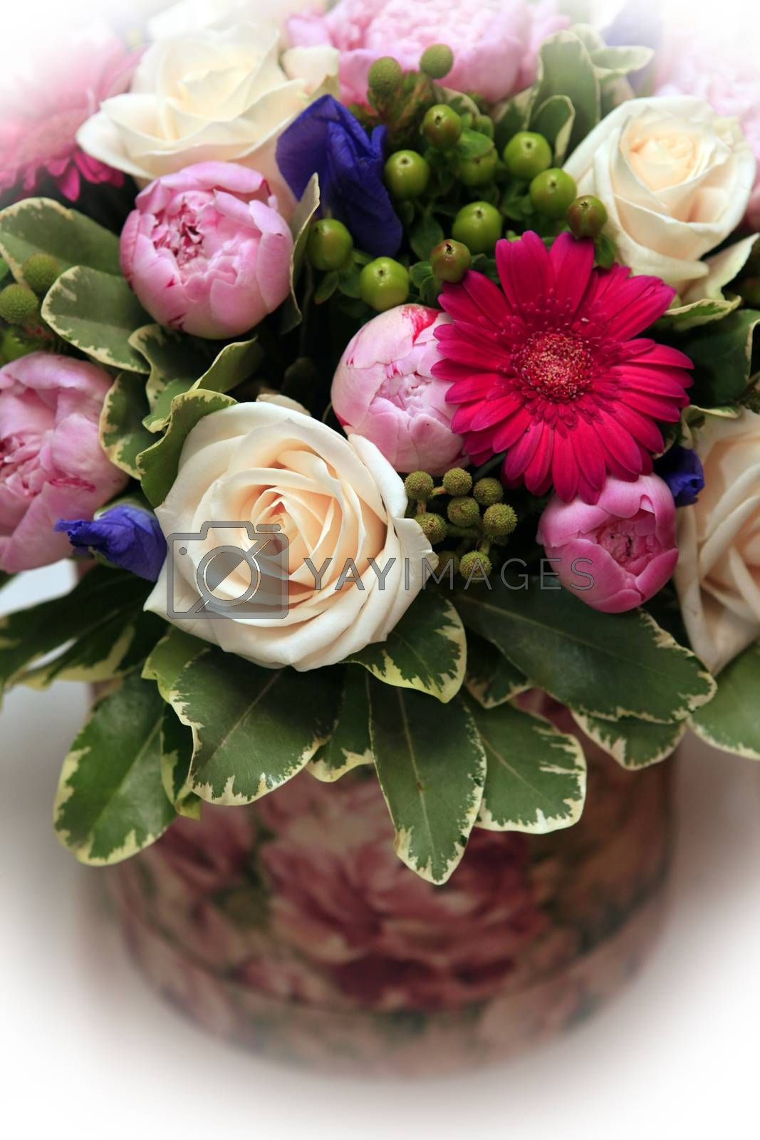 Wedding bouquet from peony and rose on white isolated background