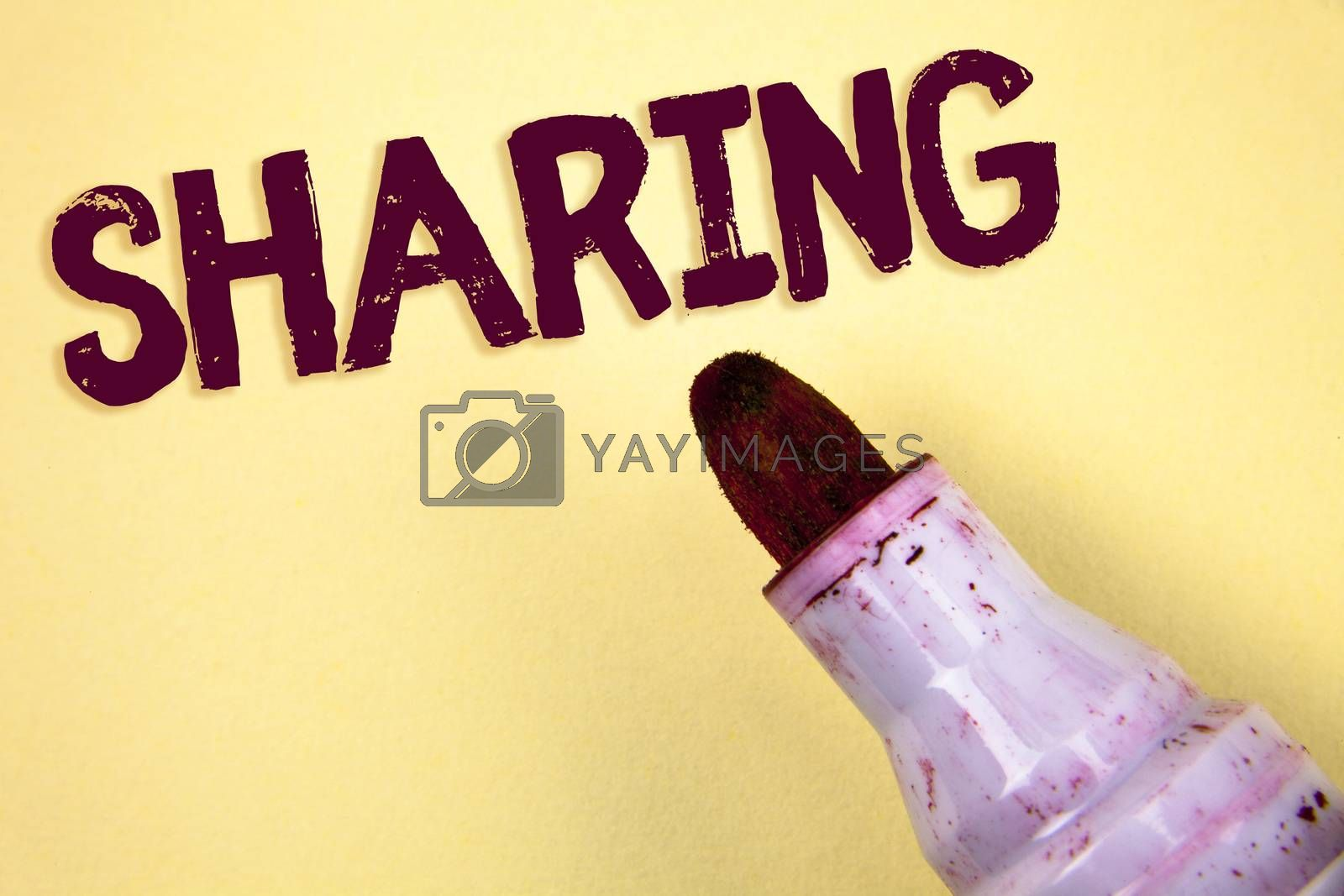 Text sign showing Sharing. Conceptual photo To Share Give a portion of something to another Possess in common written Plain background Marker next to it.