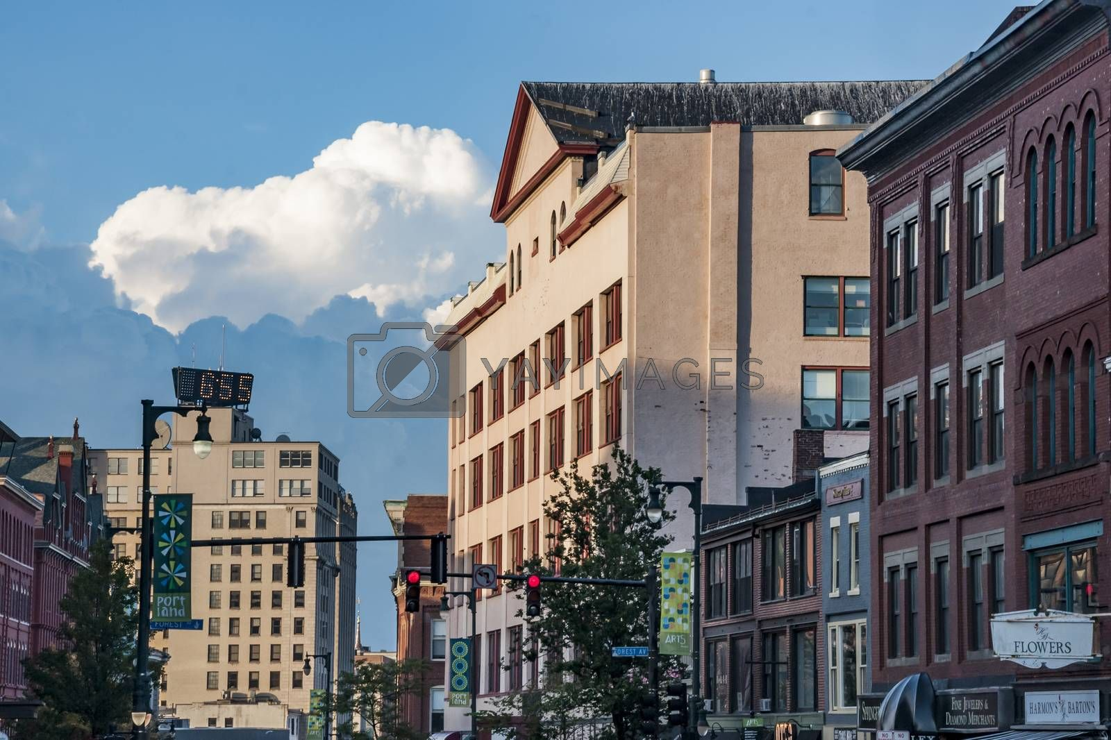 PORTLAN, ME - AUGUST 3, 2013: Old brick building in one of the main street on August 3, 2013 in Portland Maine, USA
