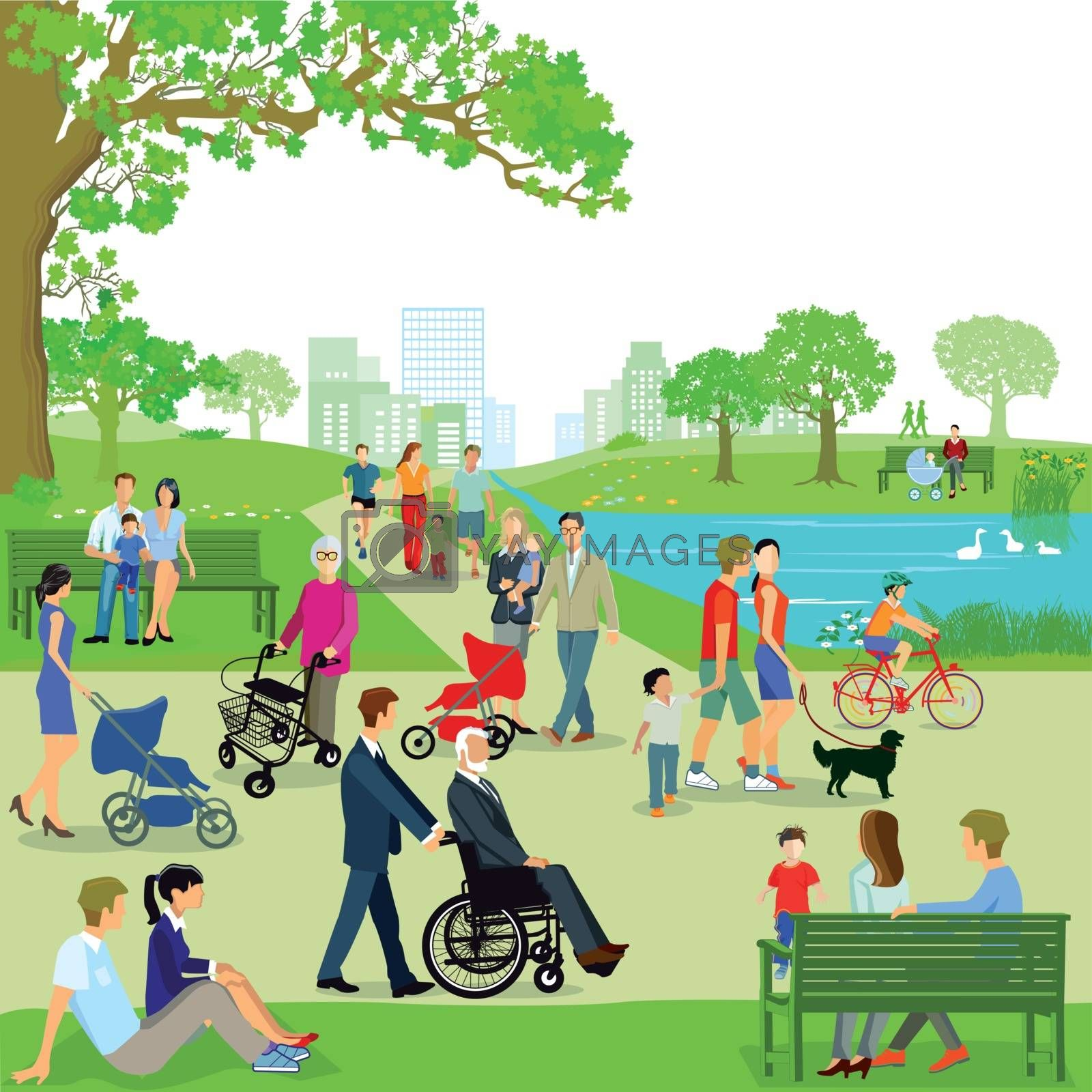 Leisure time of families in the park, illustration