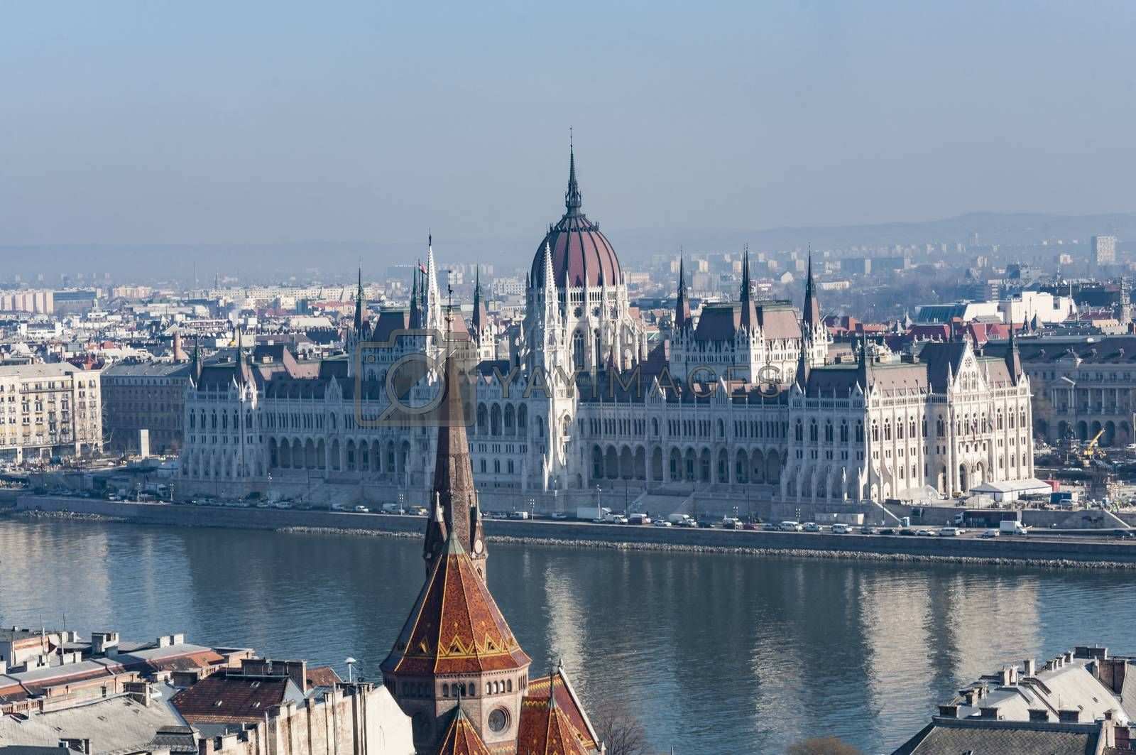 panoramic view of the Danube River and the city of Budapest, Hungary