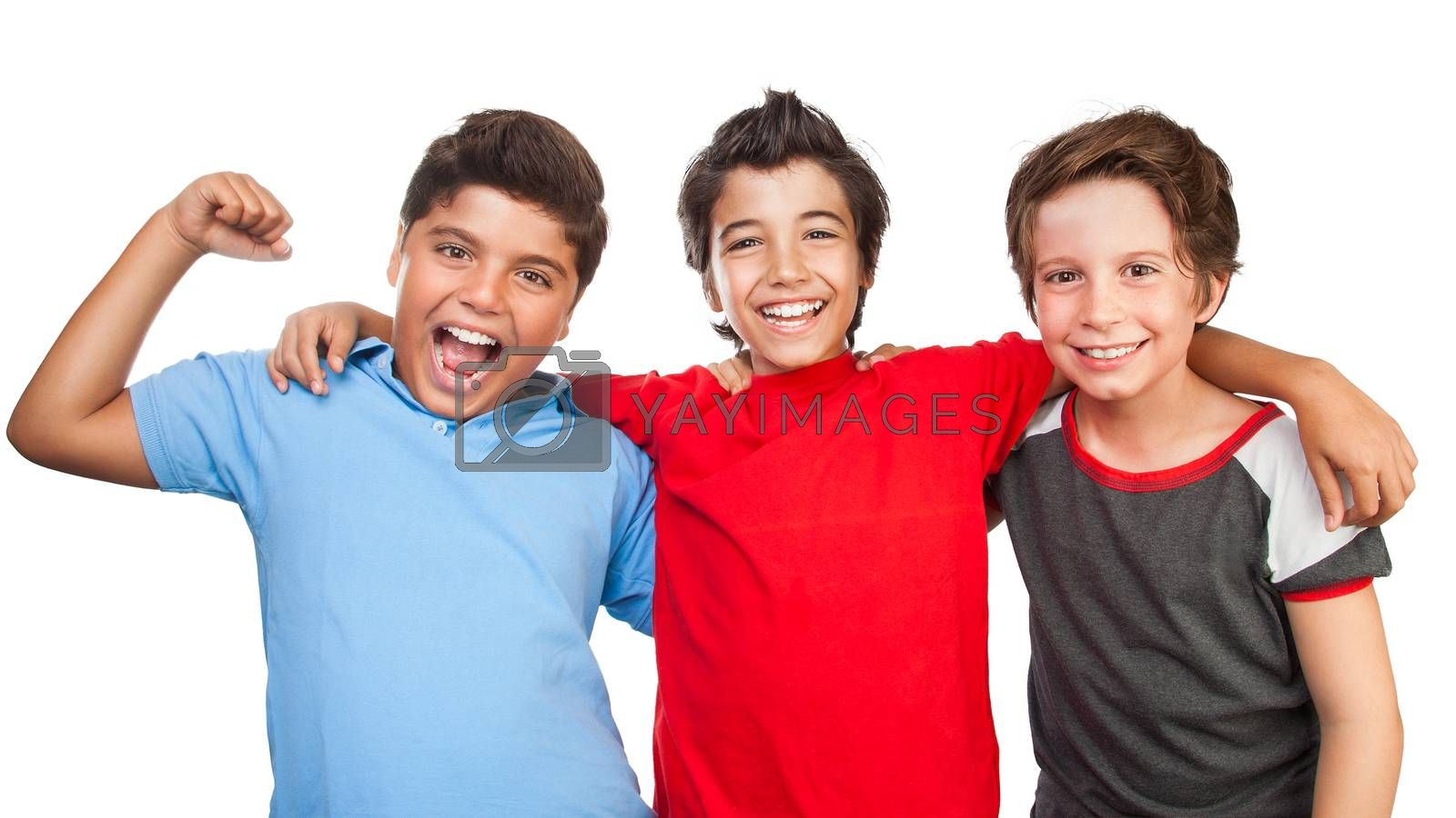 Portrait of a three happy boys isolated on white background, best friends posing in the studio, happy teen lifestyle