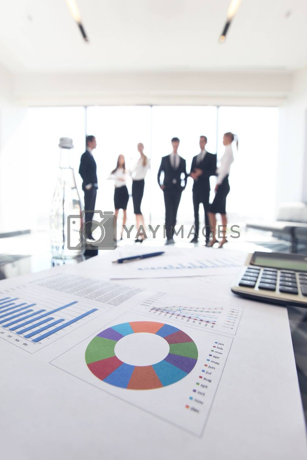 Close up view of printed graphs and business people discussing financial data