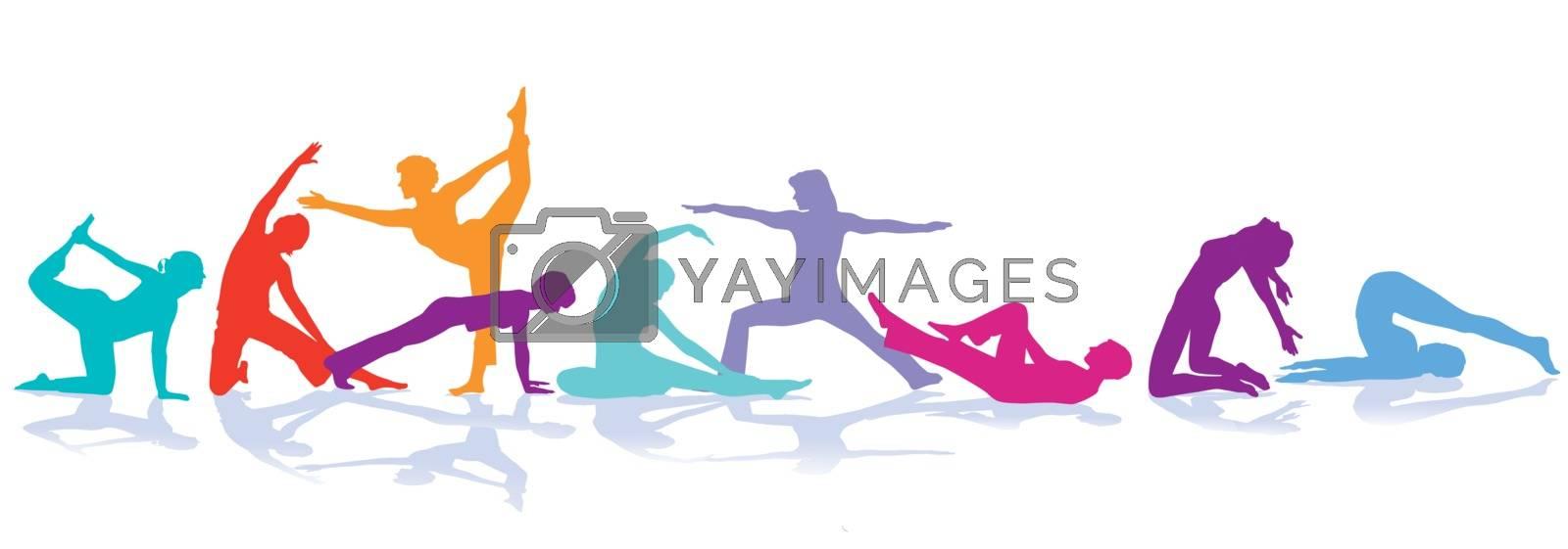 Gymnastics figures, sport illustration