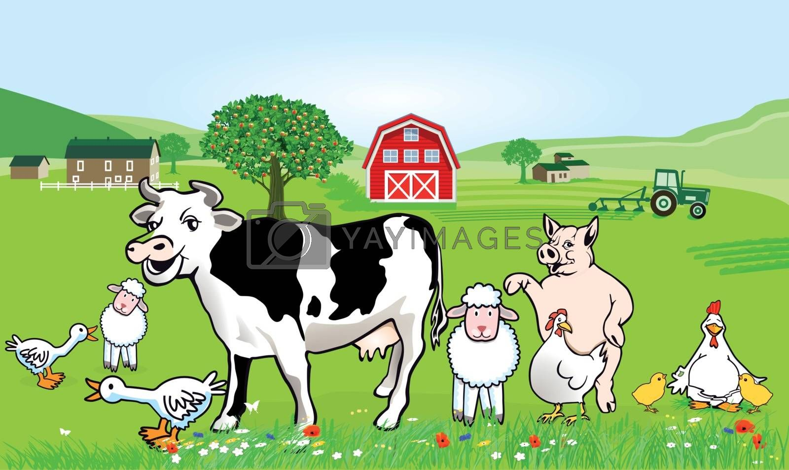 Farm animals illustration. Funny cartoon