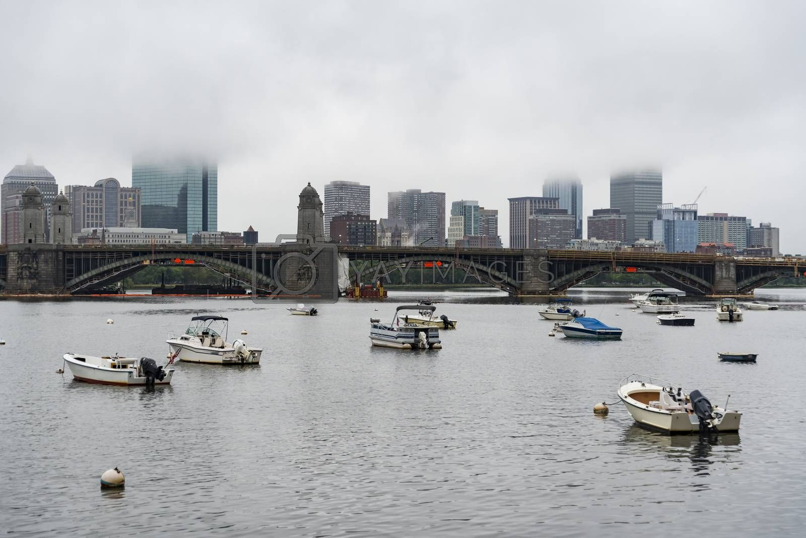 Skyline of downtown Boston with the fog, MA USA