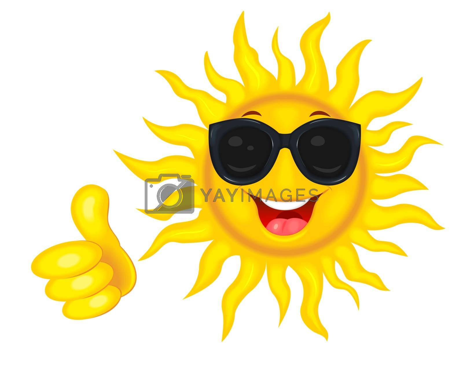 A merry cartoon sun in protective glasses from the sun. A cheerful cartoon sun on a white background. Smiling sun and hand with a finger raised up.