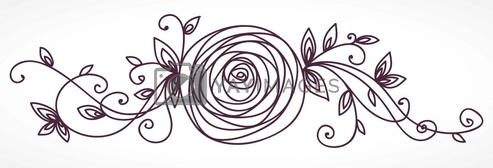 Rose. Stylized flower hand drawing. Outline icon symbol. Present for wedding, birthday invitation card