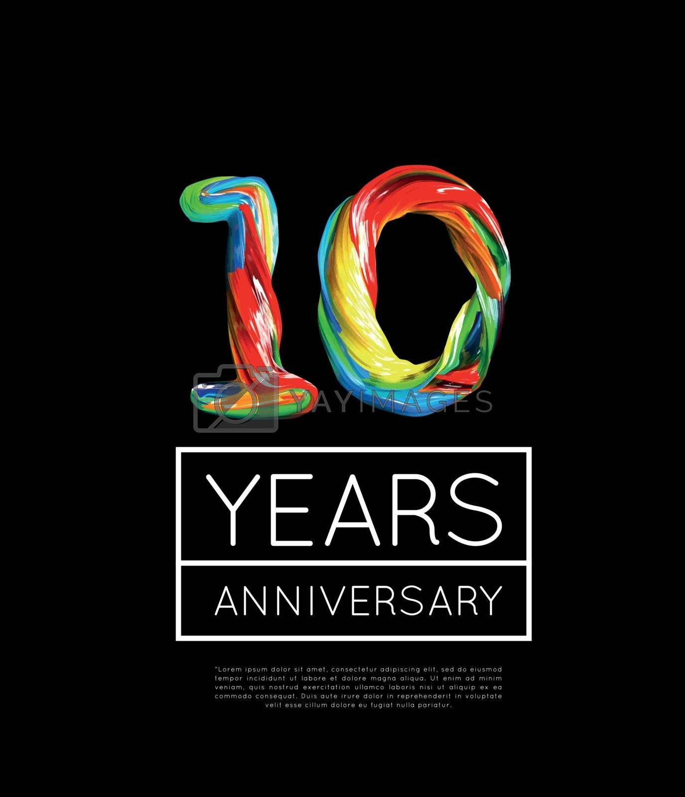10th Anniversary, congratulation for company or person on black background. Vector illustration