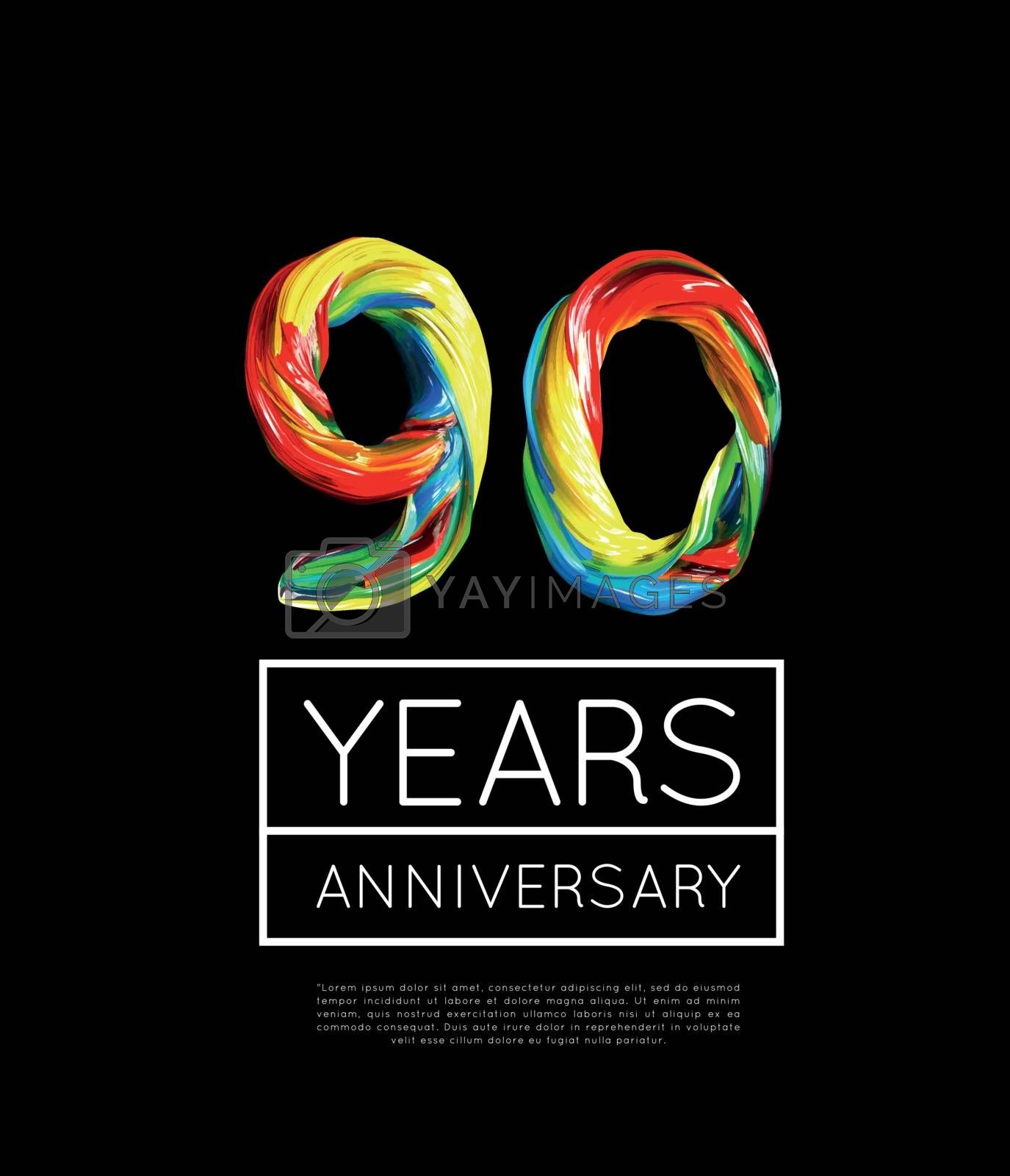 90th Anniversary, congratulation for company or person on black background. Vector illustration