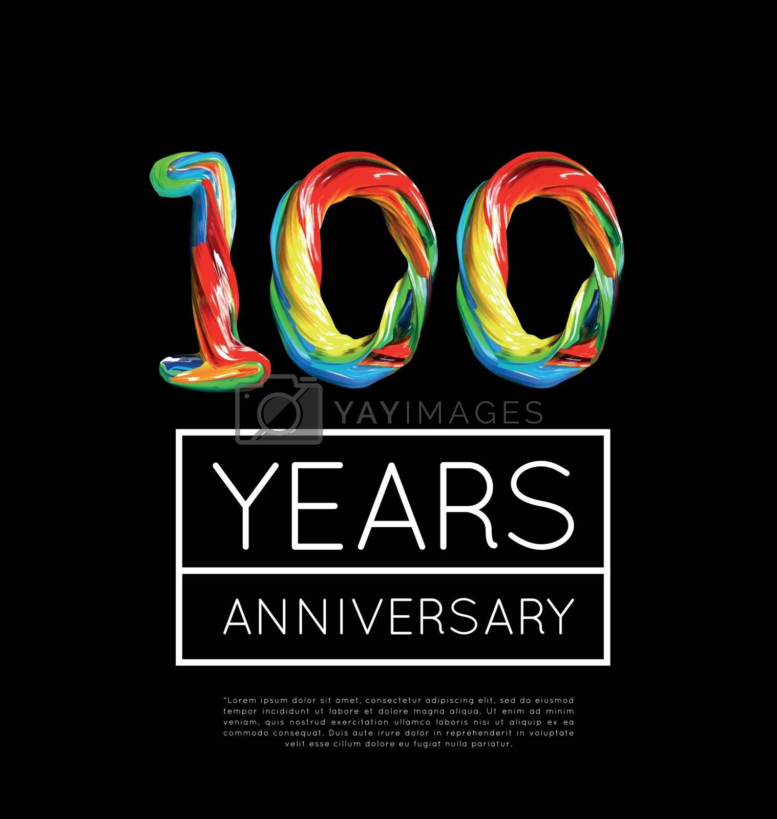 100th Anniversary, congratulation for company or person on black background. Vector illustration