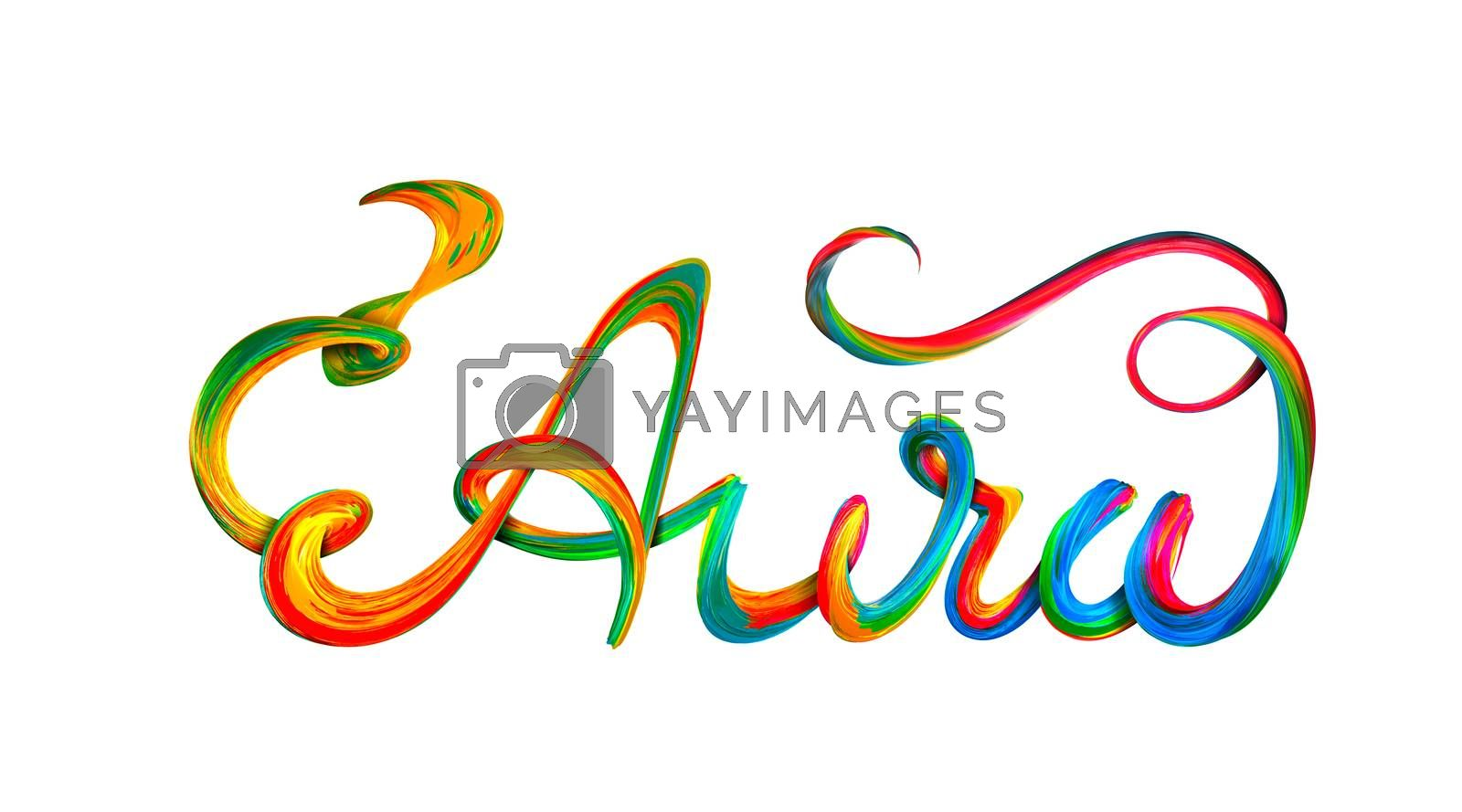 Aura colorful text, lettering design on white background