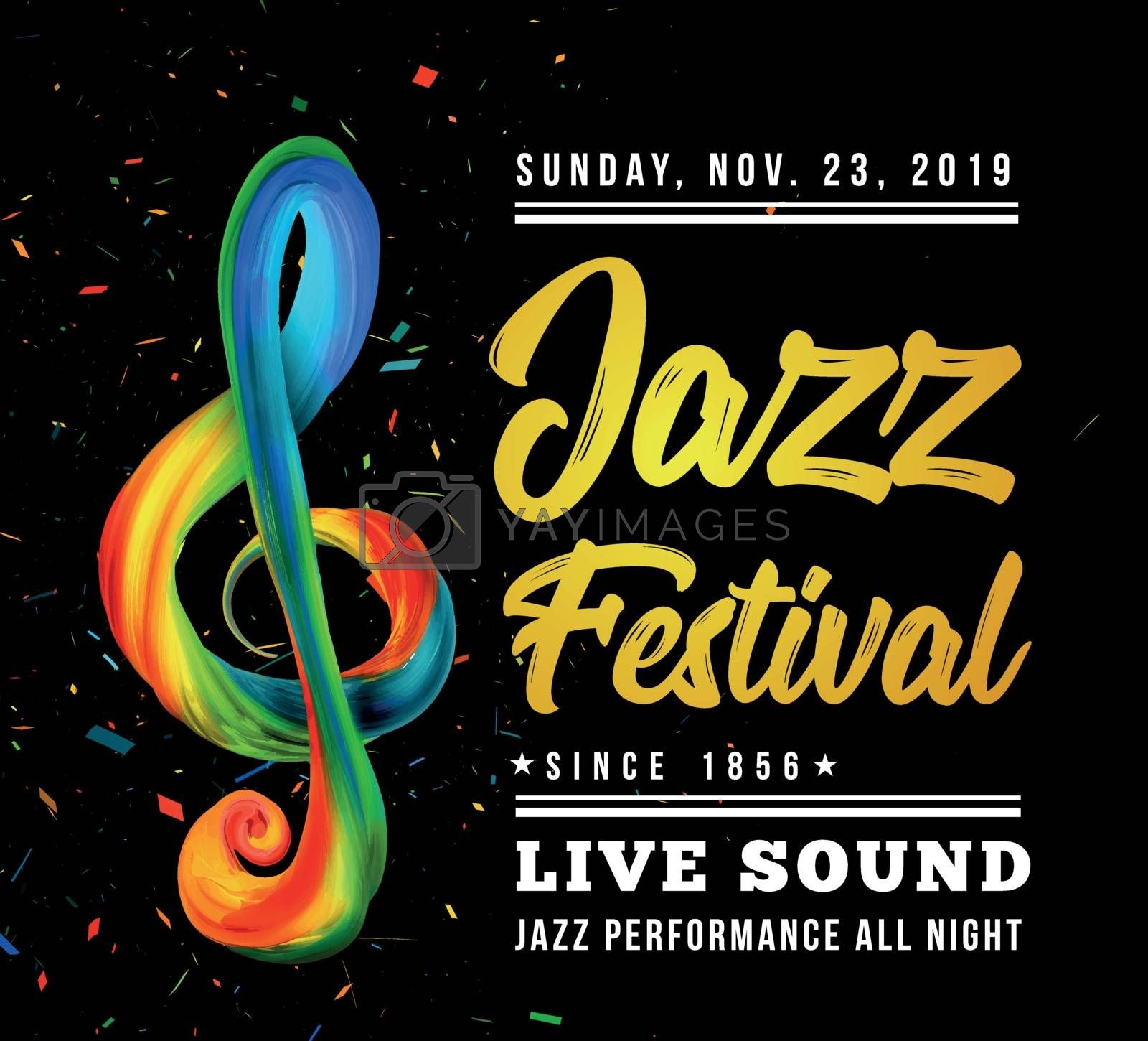 Jazz festival poster template with a treble clef and text on a black background. Vector illustration