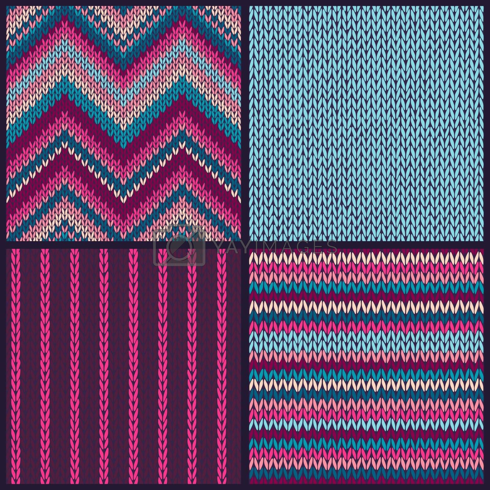 Seamless knitted pattern. Set of blue pink white color backgrounds.