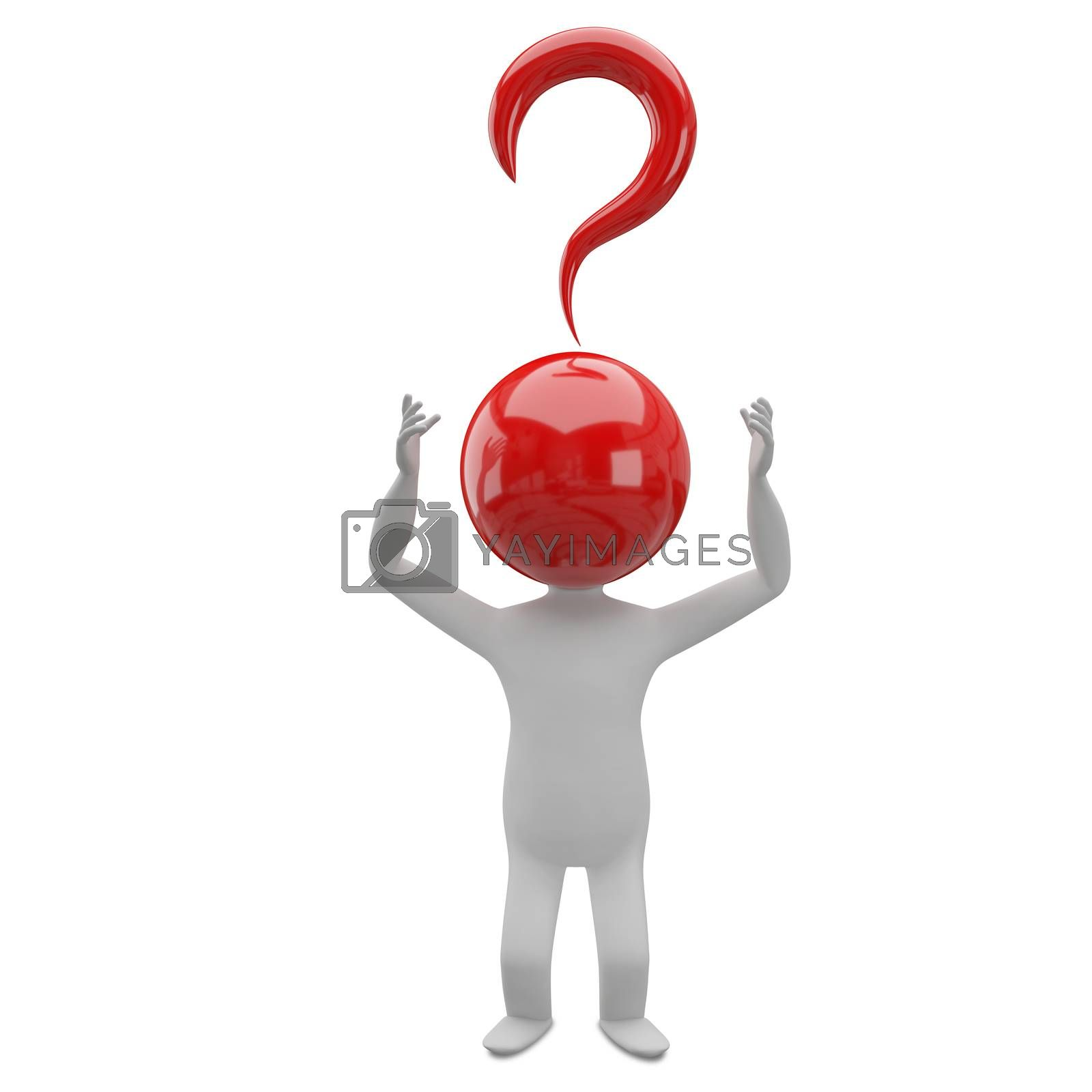 3D Illustration of an Abstract Man with a Head of a Question Mark on a White Background