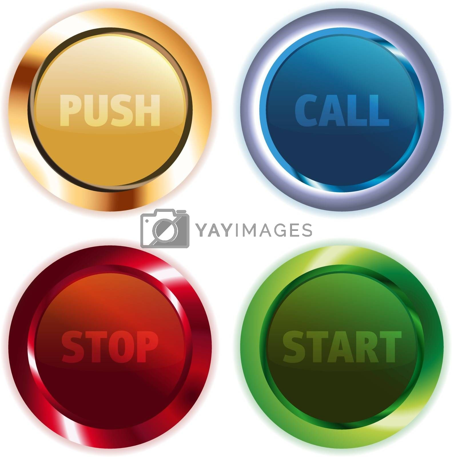 Metal Colorful Round Buttons by clusterx