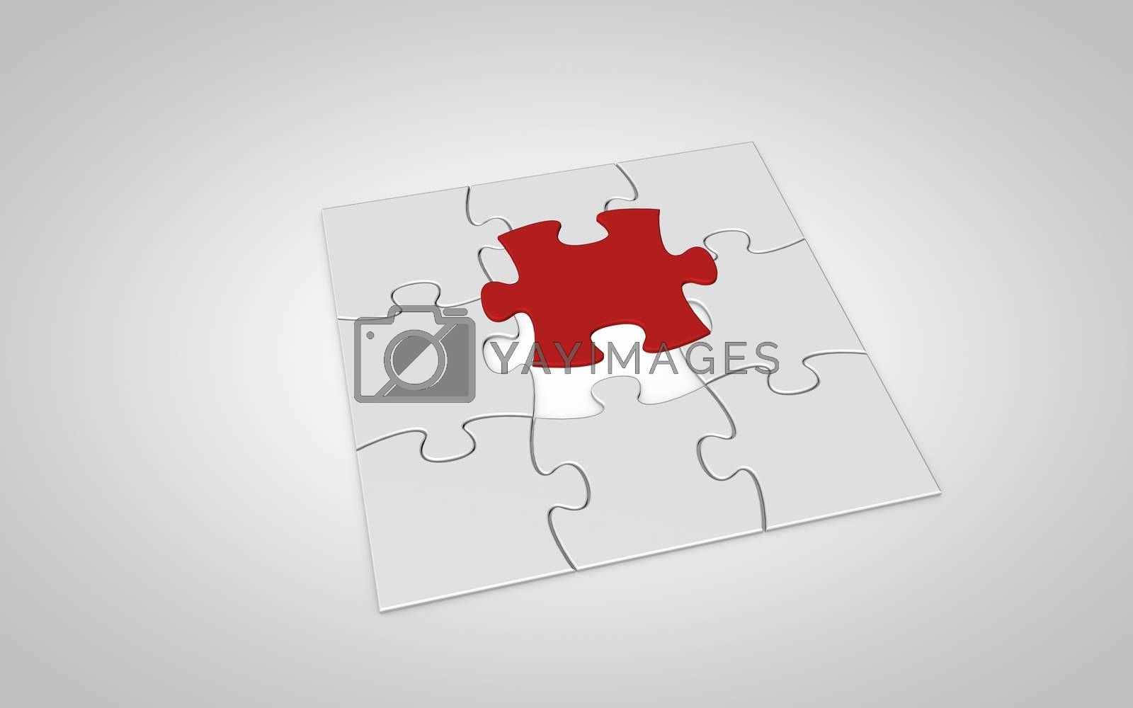 Nine puzzle pieces falling from top to white background. Final red puzzle piece falls into place.