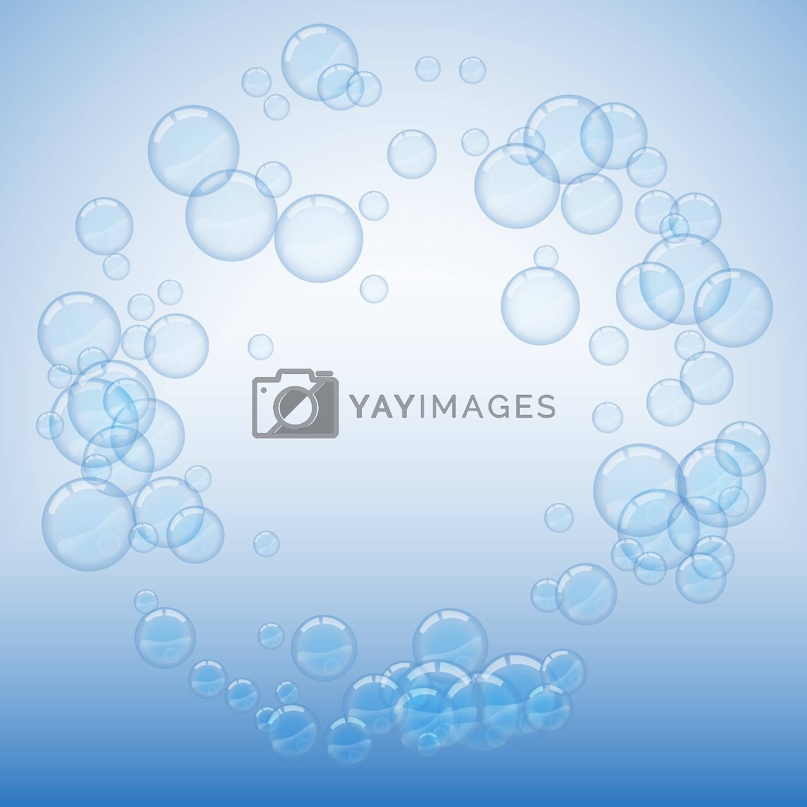 Soap bubbles on blue background round frame by clusterx