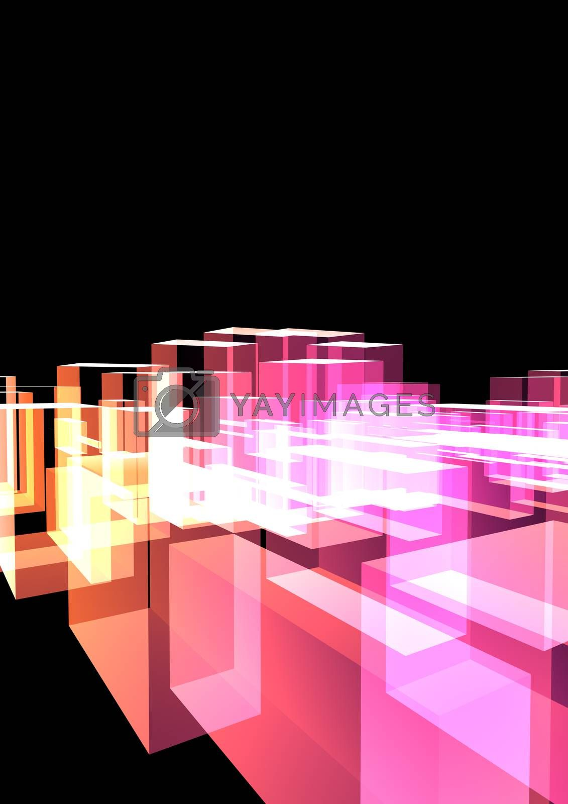 Abstract bright colorful transparent cubes on black background. Abstract glass city imitations. 3D illustration. Cover design template