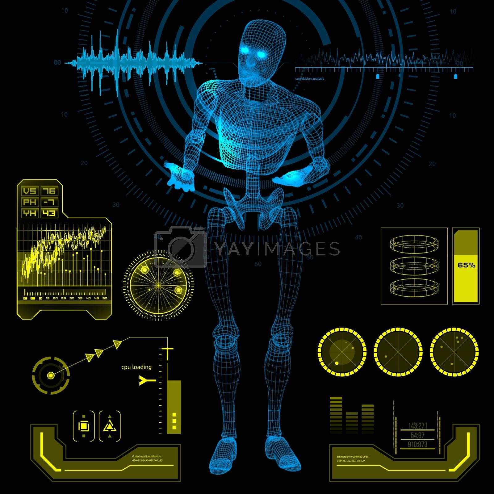 Blue humanoid robot android standing in a questioning pose with futuristic user interface elements. Vector illustration