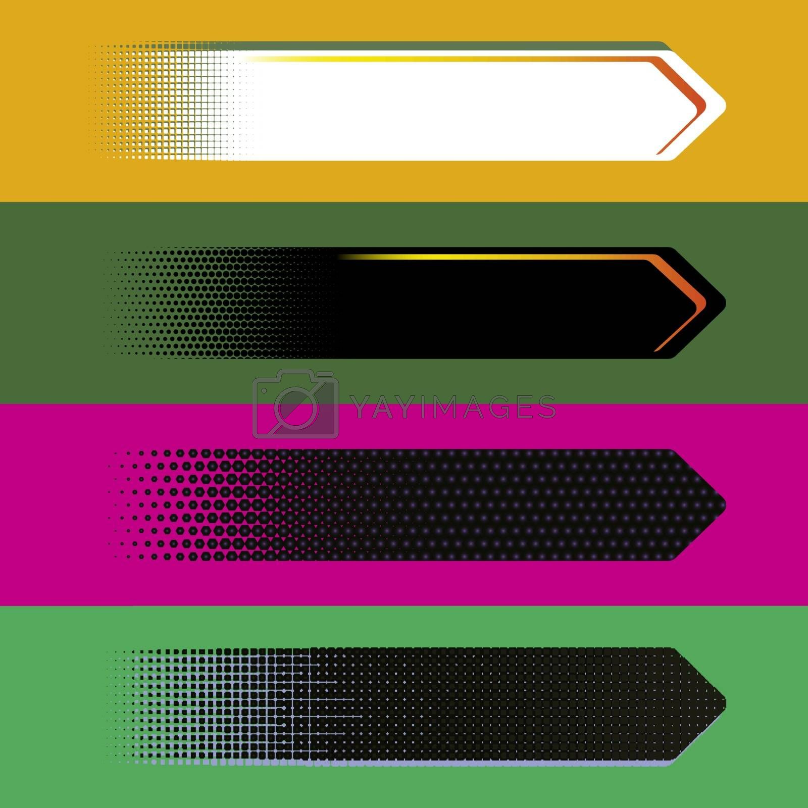 Set of digital style vector arrow banners. Background for text